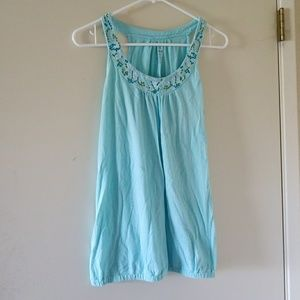 Baby blue Old Navy tank with bead stitching